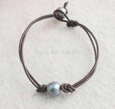 W-1401 Free shipping!!! Bulk 50pcs/lot 9-10MM Pearl Brown Leather Cord Bracelet  $51.39