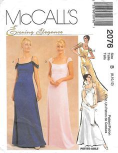 0fb6c1ba48 1990s McCalls 2076 Elegant Empire Waist Evening Gown with Shoulder Straps  or Cap Sleeves Sewing Pattern Bust 31 to 34 UNCUT FF