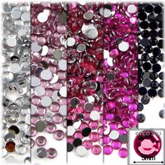 5-Pack Set (5X -144-Piece), Round 5mm Rhinestones, Pink Tones