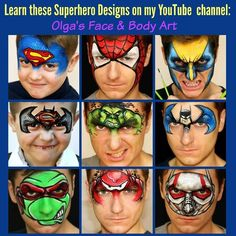 Did you know that you can learn all these Superhero designs on my YouTube channel? Just click on the link and it will take you to my world of face painting tutorials: https://www.youtube.com/olgasfacebodyart  #superherofacepaint #facepaintings #facepaintingdesigns #facepaintingideas #superhero #spiderman #hulk #superman #batman #tmntfacepainting #tmnt #wolverinefacepainting #batmanfacepaint #spidermanfacepaint #supermanfacepaint #olgasfacebodyart #olgamurasev