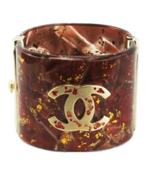 Chanel Red Resin Gold Specked Logo Cuff Bracelet