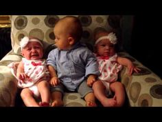 Adorably confused baby meets twins - YouTube