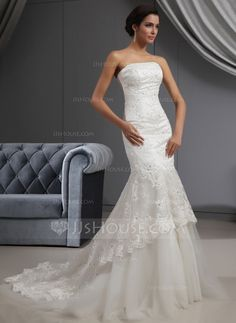 Wedding Dresses - $368.99 - Mermaid Strapless Court Train Satin Tulle Wedding Dress With Lace Beadwork Sequins (002022655) http://jjshouse.com/Mermaid-Strapless-Court-Train-Satin-Tulle-Wedding-Dress-With-Lace-Beadwork-Sequins-002022655-g22655
