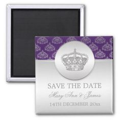 Elegant Save The Date Royal Crown Purple Magnet