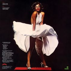 """Donna Summer re-creating Marilyn's famous pose in """"The Seven Year Itch"""" on her Four Seasons of Love Album"""