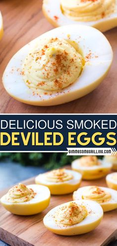 This crowd-pleasing appetizer is a twist on an old favorite! Mashed with the traditional filling, these smoked deviled eggs have so much flavor that you won't back to eating them plain again. Optional add-in ideas included! Try this easy recipe at your party! Best Appetizer Recipes, Yummy Appetizers, Grilling Recipes, Smoker Recipes, Party Recipes, Dip Recipes, Party Snacks, Yummy Recipes, Easy Homemade Recipes