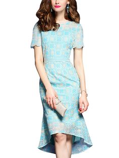 55b15d8ef24 Blue Floral Embroidered Dipped Hem Bodycon Dress