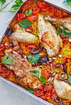 Marokkansk risfad med kylling