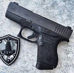 Glock 43 with custom grip  zones Find our speedloader now! http://www.amazon.com/shops/raeind