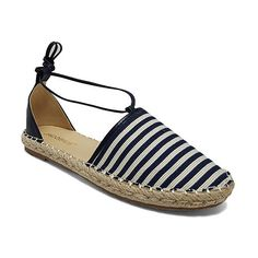 f6bb1d301ea145 Jacobies Footwear Navy   White Stripe Carson Espadrille ( 17) ❤ liked on Polyvore  featuring