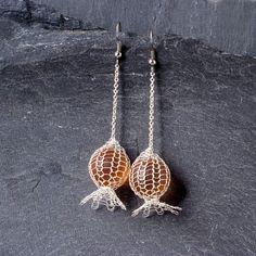 Klobige Boho Ohrringe, einzigartige lange Ohrringe, Silber Ohrringe mit einer Orange Marmor, moderne Ohrringe
