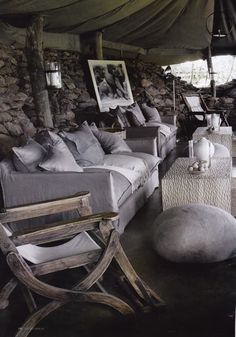 nl - rock cushion of felt - designer Ronel Jordaan - lodge Tanzania- Interiors by Cecile and Boyd's Outdoor Spaces, Outdoor Living, Porches, Gris Taupe, African Interior, Safari Decorations, Interior And Exterior, Interior Design, Lodge Style