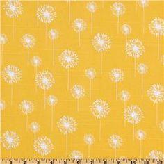 Premier Prints Small Dandelion Slub White/Yellow $8.48 per yard curtains Afton's room