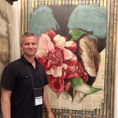 Aaron Hequembourg in front of one of his Engraved Paintings. Booth 316 #bcafmp The image is painted onto sheet music.