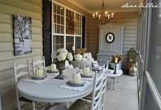 Shades of White Fall Porch Decor Move the dining table to front porch and decorate for fall in shades of white and brown. What a great way to enjoy autumn's beautiful weather.-via Dear Lillie Country Interior Design, Interior Design Living Room, Living Room Decor, Room Interior, Living Area, Dear Lillie, Building A Porch, Porch Decorating, Decorating Ideas