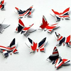 {Notonthehighstreet} Union Jack 3D Butterfly Table Confetti.  http://www.roehampton-online.com/About%20Us/Roehampton%20London.aspx?4231900