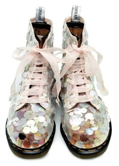 Way too wild for me, these wonderful Doc Martens! But I'm intrigued: how did they achieve the effect of sequins? If you know, please reply