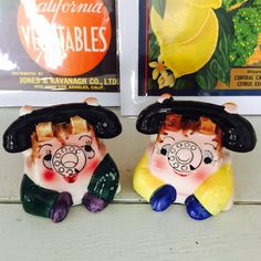 Vintage PY Anthropomorphic Telephone Salt and Pepper Shakers from Japan