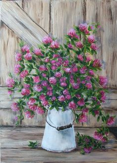 """Obraz inspirowany pracą Ann Cotterill - """"Koniczyna w konewce"""" (akryl 70x50)"""