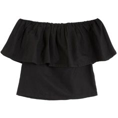 Mara Hoffman Black Ruffle Top (3.555 UYU) ❤ liked on Polyvore featuring tops, shirts, crop tops, clothes - tops, shirt crop top, layered tops, fitted crop tops, off-the-shoulder ruffle tops and off the shoulder crop top