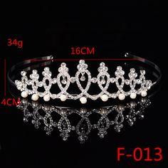 F013 Princess Tiara with Comb Shining Crystal Rhinestones Wedding Bridal Tiara Headband