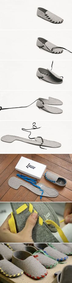 Lasso : Wool Felt Slippers. Cool! -- CHRISTmas presents for the whole family.