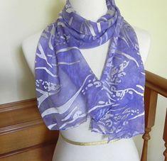 Lavender & Silver Large Cut Devore Satin Scarf by RosyDaysScarves, $39.95