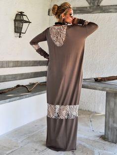 Kaftan vestido Maxi color marrón claro con detalles de malla de encaje Beige / asimétrica abrir nuevo vestido Oversize flojo vestido / #35113
