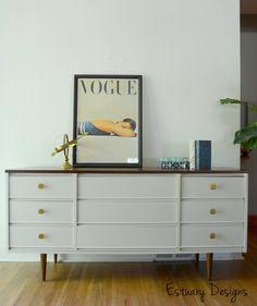 RESERVED for gallerydiet -Mid Century Modern nine-drawer dresser with brass knobs