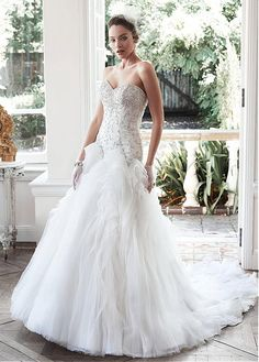 Buy discount Gorgeous Tulle Sweetheart Neckline Mermaid Wedding Dress With Embroidery & Rhinestones at Dressilyme.com