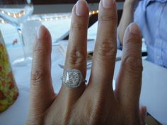2.03 carats, size 6 ring size. cushion cut engagement ring in Victor Canera setting