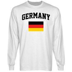 #Germany Flag Long Sleeve #T-Shirt - White