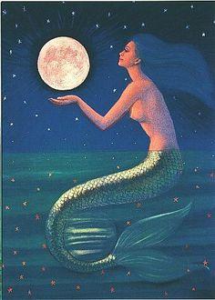 Mermaid art Full Moon fantasy 5x7 card by HalstenbergStudio. 2.95, via Etsy.