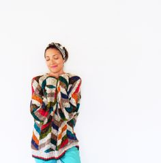 Vintage Oversized Slouchy Sweater/Chunky Boyfriend Sweater/80s Rainbow Chevron/Large Sweater