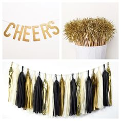 DIY New Years Wedding Ideas Gold: Gold and Black Glam Tassel Garland, Drink Stirrers and this Glitter Banner make the perfect DIY New Year's Eve Party Decor Pack.