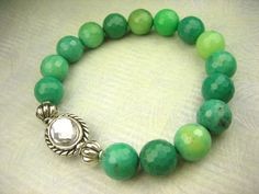 Brilliant Green Chrysoprase Faceted Stones Silver Glass by sofoola, $24.00