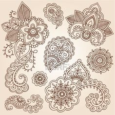 Henna Flowers and Paisley Mehndi Tattoo Doodles Set Stock Photo
