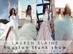 The Ultimate Bridal Experience: Lauren Elaine Bridal is coming to Texas, with an exclusive Lauren Elaine Style Suite trunk show event March 9th-11th in Houston, TX!  Book your private appointment at the Lauren Elaine Style Suite to view and fit classic Lauren Elaine favorites, as well as brand new releases not yet available any where else!  Meet with a Design Team Expert, and enjoy all the same perks offered at our Los Angeles flagship Style House! #LaurenElaineBridal