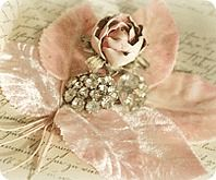 Shabby chic vintage millinery rose with pink leaves and rhinestone jewel. Handmade Flowers, Diy Flowers, Fabric Flowers, Paper Flowers, Shabby Chic Crafts, Vintage Shabby Chic, Vintage Pink, Ribbon Work, Everything Pink