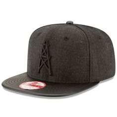 a27e4664bce55b Houston Oilers New Era Leather Match Original Fit 9FIFTY Snapback  Adjustable Hat - Heathered Black/Black