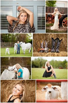 Senior pictures. Absolutely love that one with the tractor in her dress! Senior poses