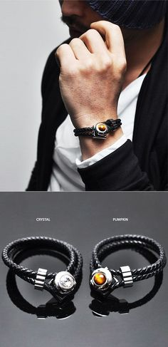Accessories :: Bracelets :: Leather Braided Lux Jewel Cuff-Bracelet 130 - Mens Fashion Clothing For An Attractive Guy Look