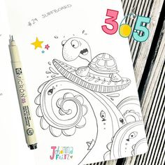 Doodle 29/365: Surfboard  #365doodleswithjohannafritz by johannafritzillustration