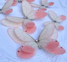 Pink blush silk hair clips www.flutterdesigns.co.uk