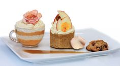 Pumpkin Parfait, Caramel Apple Spice Cake, Persimmon Cookie with Caramel Sauce
