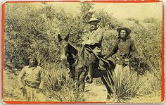 General George Crook horseback, Apache Scout Alchesay on the right and Apache scout Dutchy on the left. Taken in Apache Pass near Fort Bowie. --- In March 1886, Sergeant Alchesay was called upon again to assist General Crook in the Geronimo Campaign, ten years after Alchesay received his medal of honor for fighting ferociously under Crook during the 1872-73 Tonto Basin campaigns. (Photo by ???)