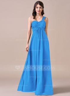 Empire One-Shoulder Floor-Length Chiffon Bridesmaid Dress With Ruffle  (007057720) - 0dc168a59d1