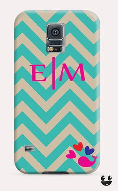 Turquoise Beige Chevron Whale Pink Monogram Galaxy Samsung S5, Galaxy Samsung S4, Galaxy Samsung S3