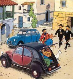 Tintin inspired Citroen 2CV art