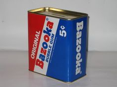 Enseco Bank Original Bazooka Bubble Gum 5 Cents Tin Bubblegum Hard to Find Bank Bazooka Bubble Gum, 5 Cents, Hard To Find, Nifty, Childhood Memories, Tin, Bubbles, Gift Ideas, Canning